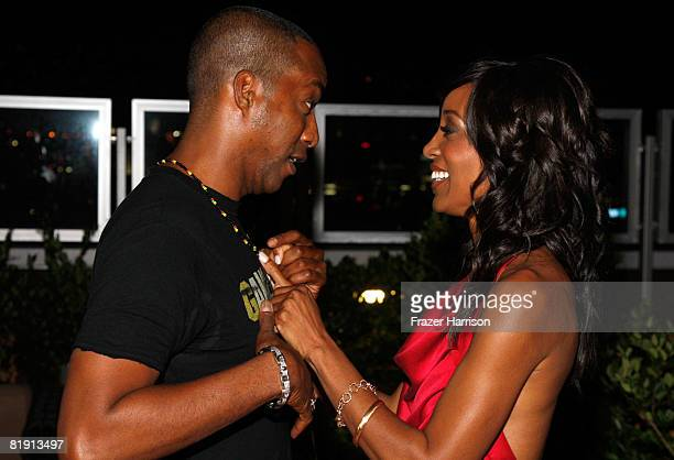 Actor Miguel Nunez Jr poses with Shaun Robinson at her Party held at Blu Beverly Hills on July 12 2008 in Beverly Hills California
