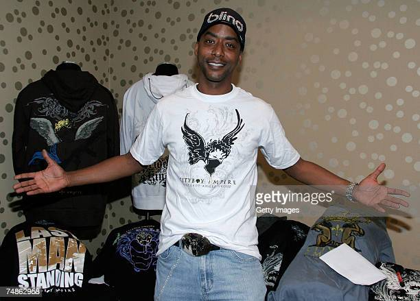 Actor Miguel Nunez poses with the Cityboy Empire display in the GEM luxury gift lounge in celebration of the BET Awards held at LeMontrose Suite...