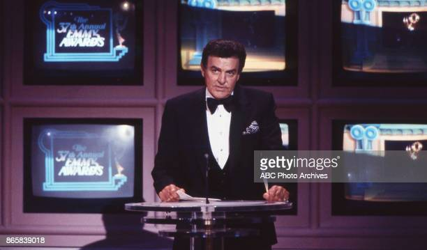 Actor Mike Connors on stage at the 37th Annual Primetime Emmy Awards on September 22 1985 at the Pasadena Civic Auditorium in Pasadena California