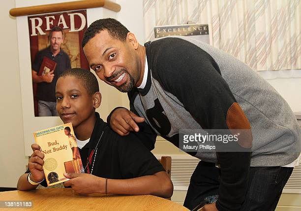 Actor Mike Epps and Daion Daniles attend the Michael and Mechelle Epps Foundation Media Day at the Crispus Attucks Medical Magnet High School on...