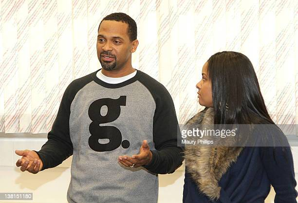 Actor Mike Epps and Michelle Epps attend the Michael and Mechelle Epps Foundation Media Day at the Crispus Attucks Medical Magnet High School on...