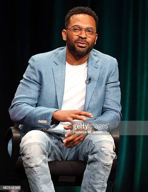 Actor Mike Epps speaks onstage during the 'Survivor's Remorse' panel discussion at the STARZ portion of the 2015 Summer TCA Tour at The Beverly...