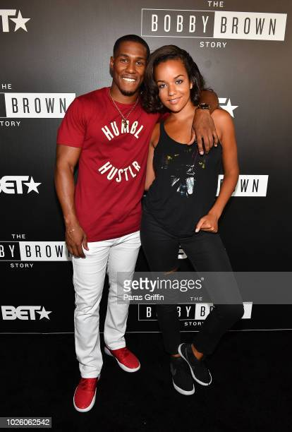 Actor Mike Merrill and actress Alyssa Goss attend The BobbyQ Atlanta Premiere Of The Bobby Brown Story at Atlanta Contemporary Arts Center on...