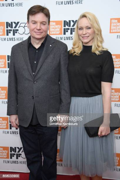 Actor Mike Myers and Kelly Tisdale attend 55th New York Film Festival screening of Spielberg at Alice Tully Hall on October 5 2017 in New York City