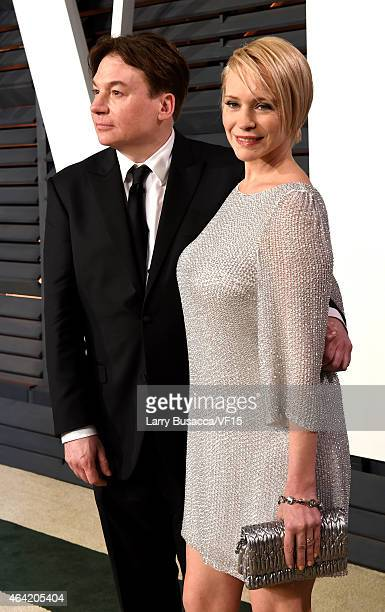 Actor Mike Myers and Kelly Tisdale attend the 2015 Vanity Fair Oscar Party hosted by Graydon Carter at the Wallis Annenberg Center for the Performing...