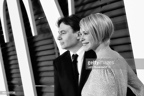 Actor Mike Myers and Kelly Tisdale attend the 2015 Vanity Fair Oscar Party Hosted By Graydon Carter at Wallis Annenberg Center for the Performing...