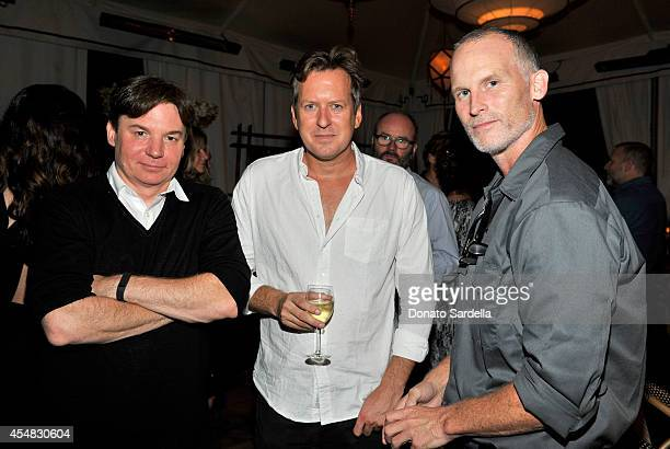 Actor Mike Myers artist Doug Aitken and Matthew Barney attend the Doug Aitken Still Life Opening Reception and Dinner at Chateau Marmont on September...