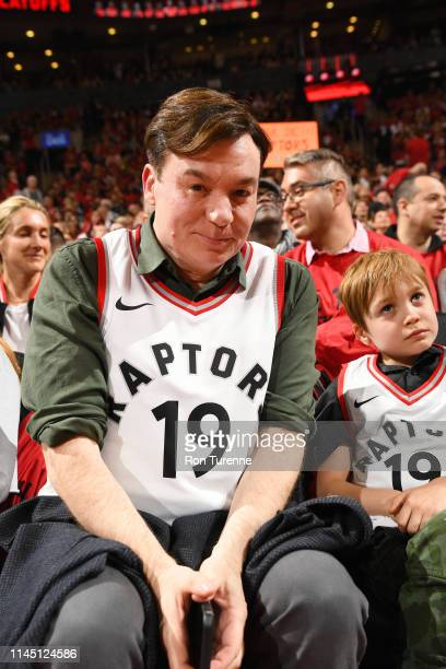 Actor Mike Myers is seen during Game Three of the Eastern Conference Finals of the 2019 NBA Playoffs on May 19 2019 at the Scotiabank Arena in...
