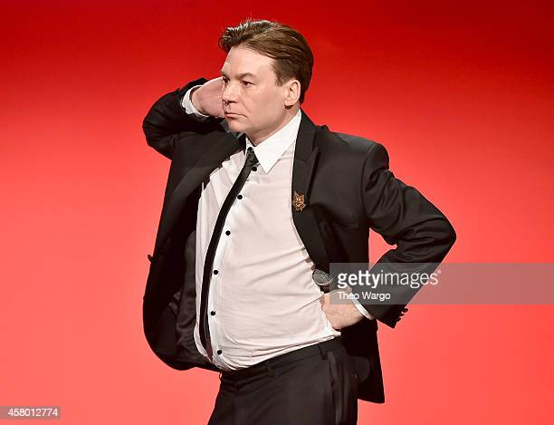 Actor Mike Myers poses onstage at the Elton John AIDS Foundation's 13th Annual An Enduring Vision Benefit at Cipriani Wall Street on October 28 2014...