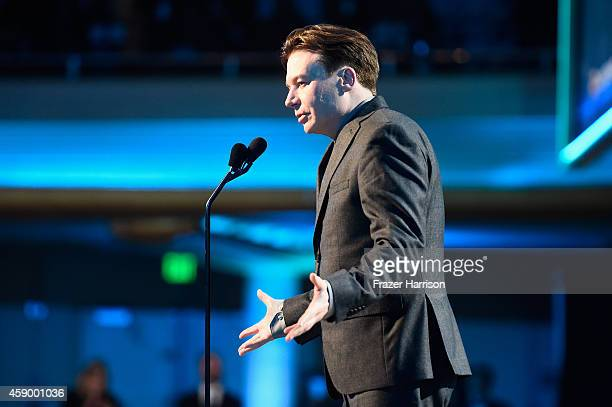 Actor Mike Myers speaks onstage during the 18th Annual Hollywood Film Awards at The Palladium on November 14 2014 in Hollywood California