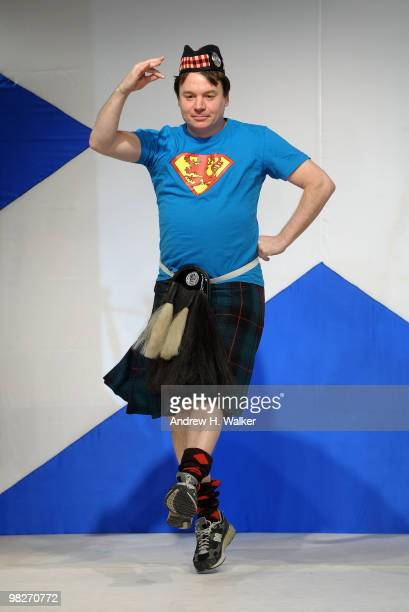 Actor Mike Myers walks the runway at the 8th annual 'Dressed To Kilt' Charity Fashion Show presented by Glenfiddich at M2 Ultra Lounge on April 5...