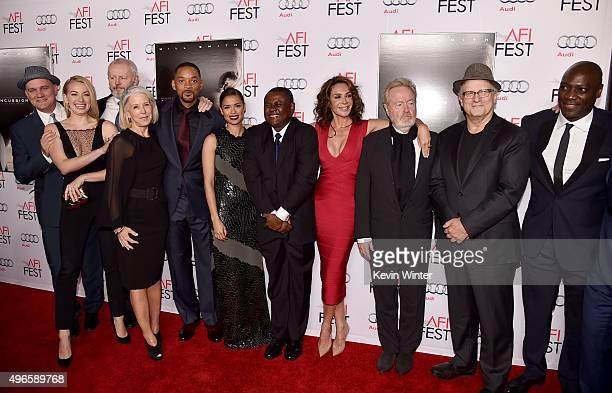 Actor Mike O'Malley, actress Sara Lindsey, actor David Morse, producer Elizabeth Cantillon, actor Will Smith, actress Gugu Mbatha-Raw, Bennet Omalu,...