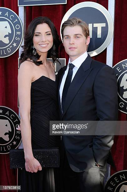Actor Mike Vogel and Courtney Vogel arrive at the 18th Annual Screen Actors Guild Awards at The Shrine Auditorium on January 29 2012 in Los Angeles...