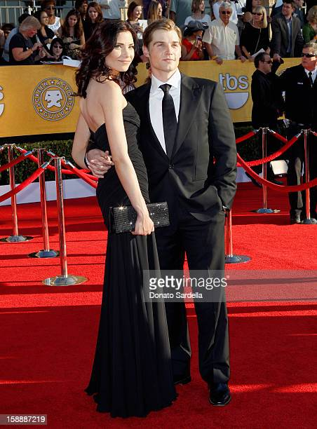 Actor Mike Vogel and Courtney Vogel arrive at the 18th Annual Screen Actors Guild Awards held at The Shrine Auditorium on January 29 2012 in Los...