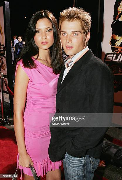 Actor Mike Vogel and his wife Courtney pose at the premiere of Twentieth Century Fox' s Supercross The Movie at the Wadsworth Theater on August 15...