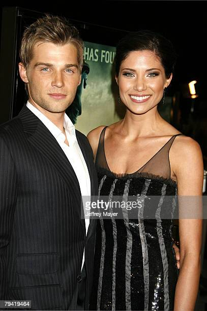 Actor Mike Vogel and wife Courtney arrive at the Los Angeles premiere of Cloverfield on the Paramount Pictures Lot on January 16 2008 in Los Angeles...