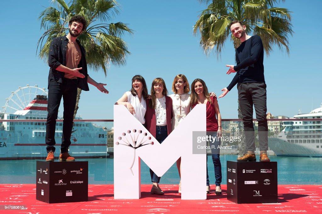 Actor Miki Esparbe, actress Maria Ribera, director Elena Trape, actress Alexandra Jimenez, producer Marta Ramirez and actor Bruno Sevilla attend 'Las Distancias' photocall during the 21th Malaga Film Festival on April 17, 2018 in Malaga, Spain.