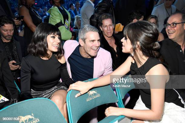 Actor Mila Kunis TV personality Andy Cohen and recording artist Camila Cabello attend the 2018 Billboard Music Awards at MGM Grand Garden Arena on...