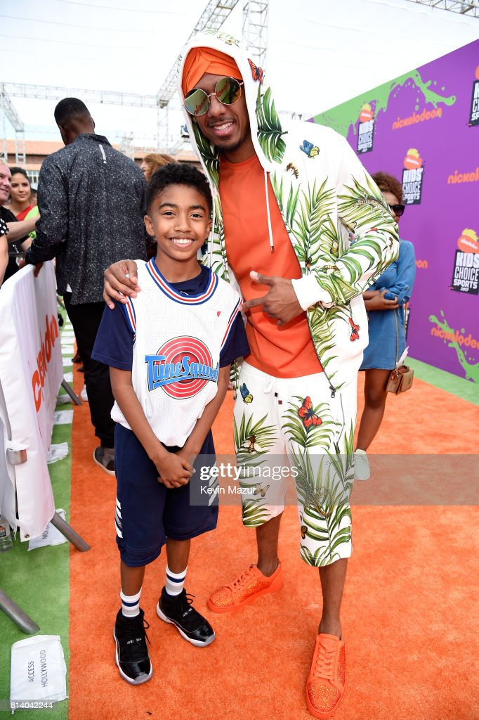 Actor Miles Brown (L) and TV personality Nick Cannon attend Nickelodeon Kids' Choice Sports Awards 2017 at Pauley Pavilion on July 13, 2017 in Los Angeles, California.