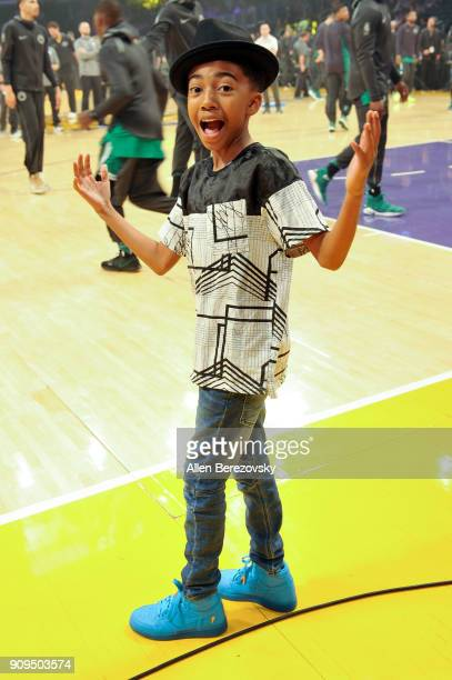 Actor Miles Brown attends a basketball game between the Los Angeles Lakers and the Boston Celtics at Staples Center on January 23 2018 in Los Angeles...