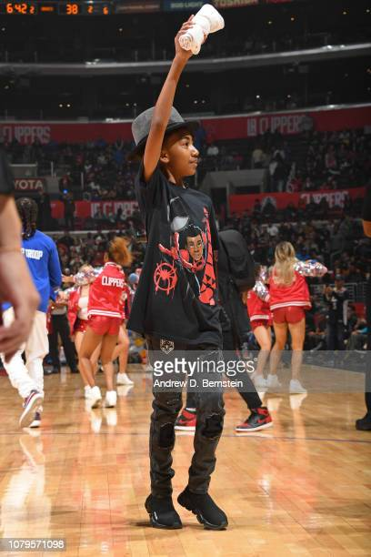Actor Miles Brown attends the game between the Charlotte Hornets and LA Clippers on January 8 2019 at STAPLES Center in Los Angeles California NOTE...