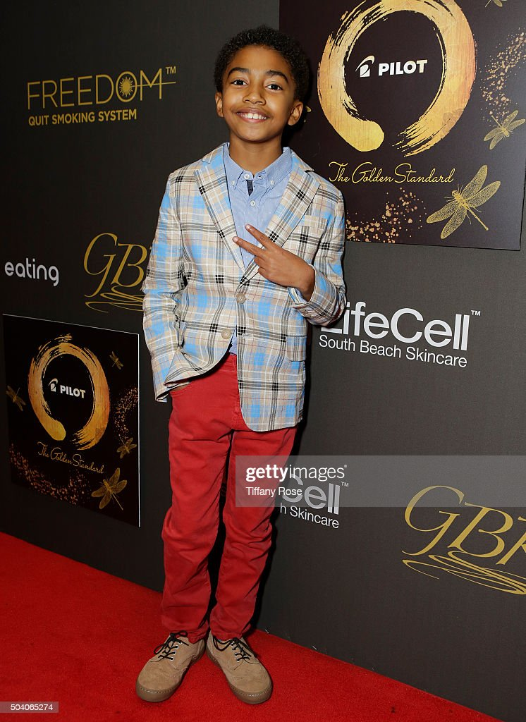 Actor Miles Brown attends the GBK & Pilot Pen Golden Globes 2016 Luxury Lounge - Day 1 at W Hollywood on January 8, 2016 in Hollywood, California.