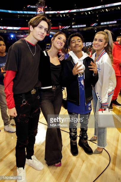 Actor Miles Brown takes a photo with Tik Tok Stars Addison Rae Easterling Charlie D'Amelio and Chase Hudson during the 69th NBA AllStar Game as part...
