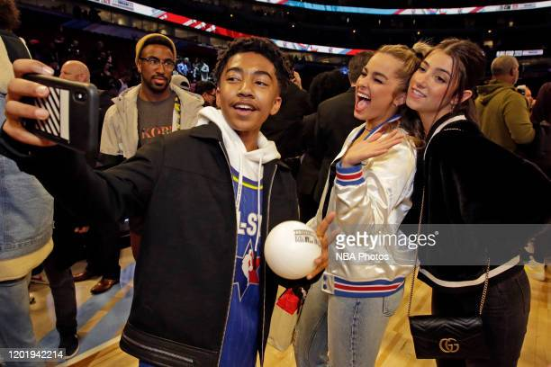 Actor Miles Brown takes a selfie with Tik Tok Stars Addison Rae Easterling and Charlie D'Amelio during the 69th NBA AllStar Game as part of 2020 NBA...