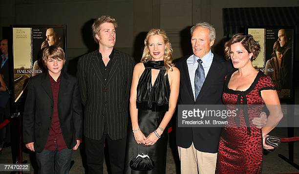 Actor Miles Heizer Kyle Eastwood director Alison Eastwood actor/director Clint Eastwood and actress Marcia Gay Harden attend the Rails Ties film...