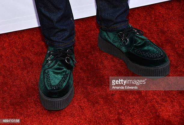 Actor Miles Heizer shoe detail arrives at the 2015 TV LAND Awards at the Saban Theatre on April 11 2015 in Beverly Hills California