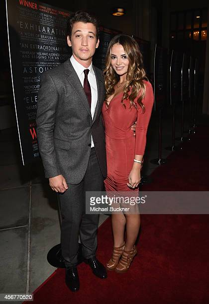 Actor Miles Teller and actress Keleigh Sperry arrive at the premiere of Sony Pictures Classics' Whiplash at the Bing Theatre At LACMA on October 6...