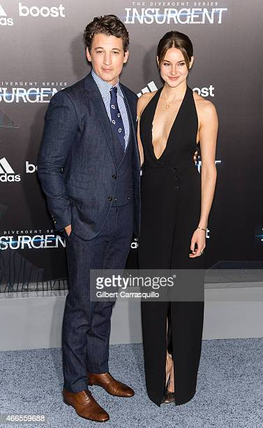 """Actor Miles Teller and actress Shailene Woodley attend The Divergent Series' """"Insurgent"""" New York premiere at Ziegfeld Theater on March 16, 2015 in..."""