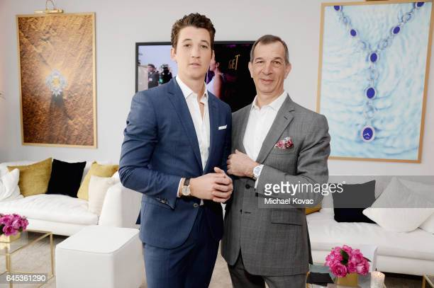Actor Miles Teller and CEO of Piaget Philippe LeopoldMetzger with Piaget at the 2017 Film Independent Spirit Awards at Santa Monica Pier on February...