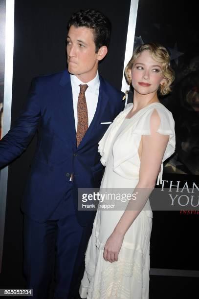 Actor Miles Teller and Haley Bennett attend the premiere of 'Thank You For Your Service' on October 23 held at the Regal LA Live in Los Angeles...