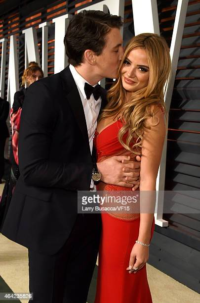 Actor Miles Teller and Keleigh Sperry attend the 2015 Vanity Fair Oscar Party hosted by Graydon Carter at the Wallis Annenberg Center for the...