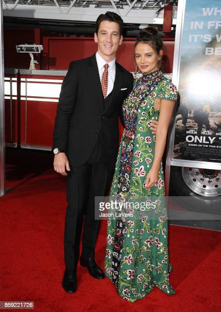 Actor Miles Teller and Keleigh Sperry attend the premiere of 'Only the Brave' at Regency Village Theatre on October 8 2017 in Westwood California