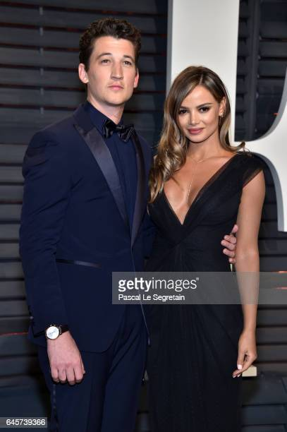 Actor Miles Teller and model Keleigh Sperry attend the 2017 Vanity Fair Oscar Party hosted by Graydon Carter at Wallis Annenberg Center for the...