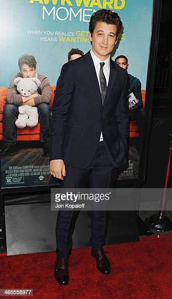 Actor Miles Teller arrives at the Los Angeles Premiere 'That Awkward Moment' at Regal Cinemas LA Live on January 27 2014 in Los Angeles California
