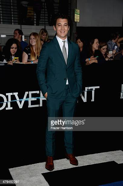 Actor Miles Teller arrives at the premiere of Summit Entertainment's Divergent at the Regency Bruin Theatre on March 18 2014 in Los Angeles California