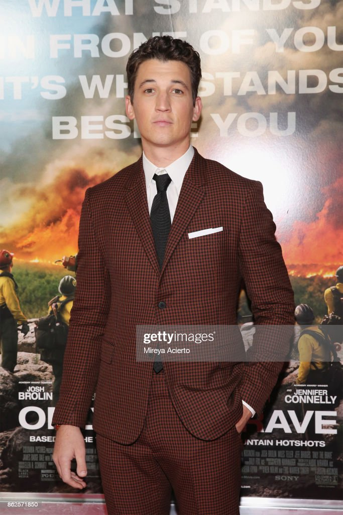 Actor Miles Teller attends 'Only The Brave' New York screening at iPic Theater on October 17, 2017 in New York City.