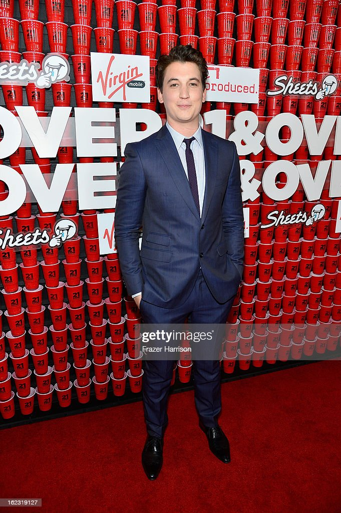 Actor Miles Teller attends Relativity Media's '21 and Over' premiere at Westwood Village Theatre on February 21, 2013 in Westwood, California.