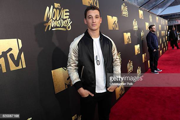 Actor Miles Teller attends the 2016 MTV Movie Awards at Warner Bros Studios on April 9 2016 in Burbank California MTV Movie Awards airs April 10 2016...