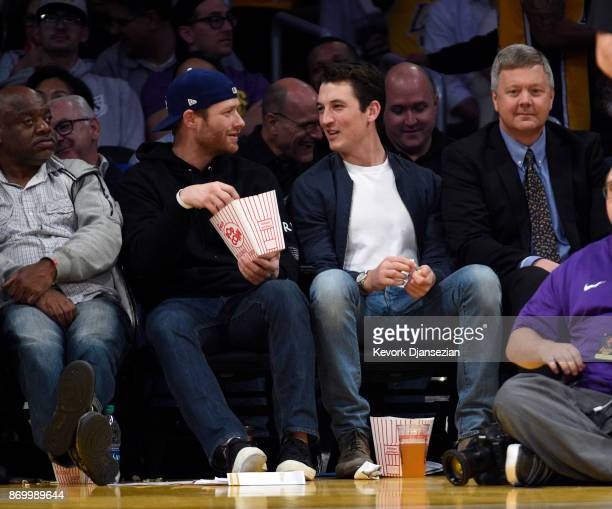 Actor Miles Teller attends the Brooklyn Nets and Los Angeles Lakers basketball game at Staples Center November 3 2017 in Los Angeles California