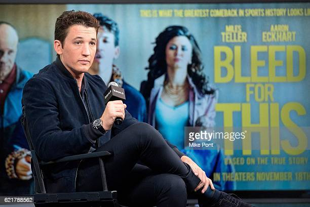 Actor Miles Teller attends The Build Series to discuss Bleed For This at AOL HQ on November 8 2016 in New York City
