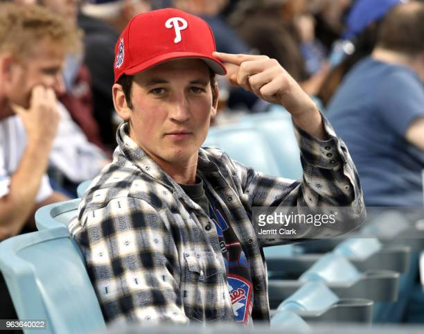 Actor Miles Teller attends the Los Angeles Dodgers Game at Dodger Stadium on May 29 2018 in Los Angeles California