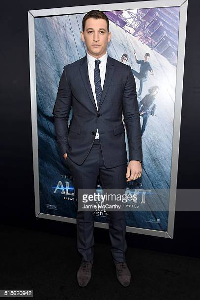 Actor Miles Teller attends the New York premiere of 'Allegiant' at the AMC Lincoln Square Theater on March 14 2016 in New York City