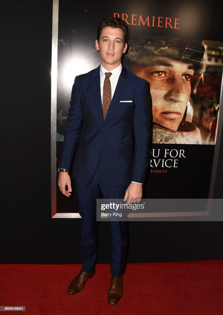 Actor Miles Teller attends the premiere of DreamWorks Pictures and Universal Pictures' 'Thank You For Your Service' at Regal LA Live Stadium 14 on October 23, 2017 in Los Angeles, California.
