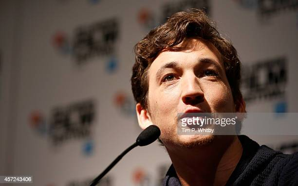 Actor Miles Teller attends the press conference for Whiplash during the 58th BFI London Film Festival at The Mayfair Hotel on October 15 2014 in...