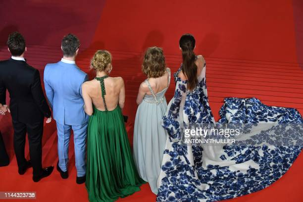 US actor Miles Teller Danish director Nicolas Winding Refn his wife Danish actress and director Liv Corfixen their daughter Lola and US model Taylor...