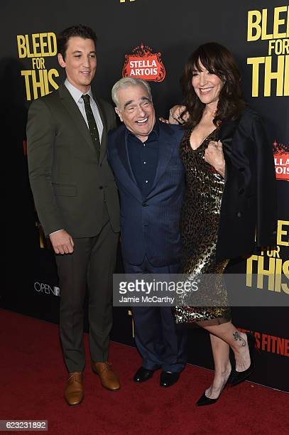 Actor Miles Teller Executive Producer Martin Scorcese and Actress Katey Sagal attend as Open Road with Men's Fitness host the premiere of Bleed For...